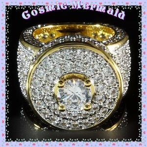 Other - 18kgold🆕⭐️CLUSTER ICED OUT Bling Ring MICROPAVE⭐️